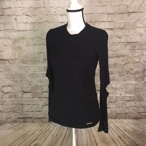 MICHAEL Michael Kors Cold Elbow Black top NEW